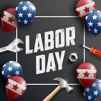 Usa happy labour day banner, poster. designvorlage. illustration