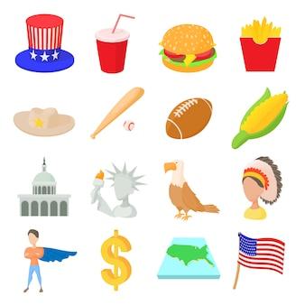 Usa-ikonen stellten in die karikaturart ein, die auf weißem hintergrund lokalisiert wurde