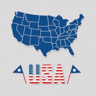 Usa-illustration mit länderkarte und flaggen