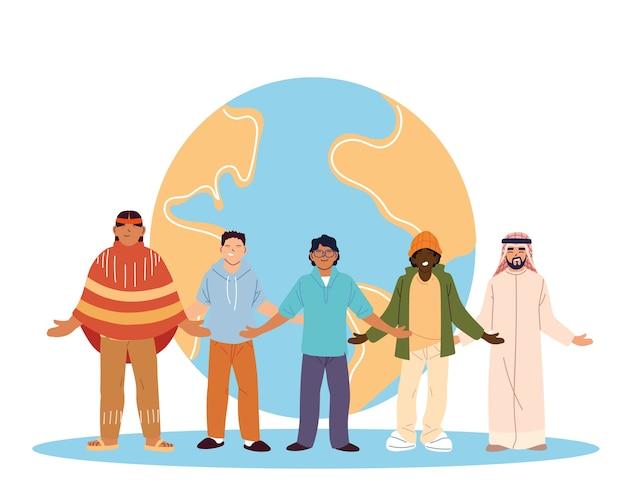 Usa indische schwarze und arabische männerkarikaturen vor weltentwurf