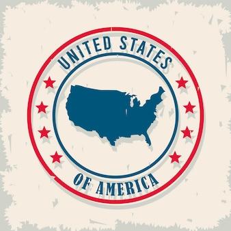 Usa-karte im runden rahmen