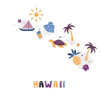 Usa-kartensammlung. staatssymbole auf grauer staatssilhouette - hawaii