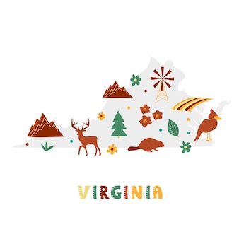 Usa-kartensammlung. staatssymbole auf grauer staatssilhouette - virginia