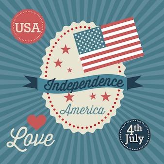 Usa label (unabhängigkeitstag) auf vintage hintergrund