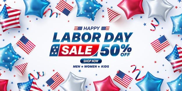 Usa labor day sale banner. usa arbeitstag feier mit amerikanischer luftballons flagge. verkaufsförderung werbebanner