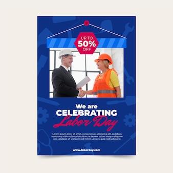 Usa labor day verkauf vertikale plakatvorlage mit foto