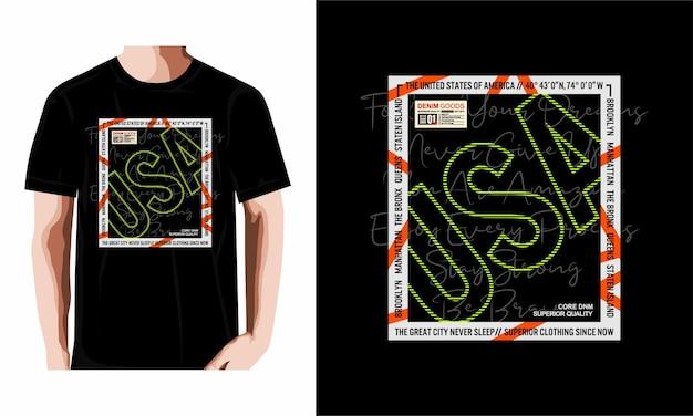 Usa mit sloganzitat abstrakter grafischer t-shirt-designtypografie erstklassiger vektor