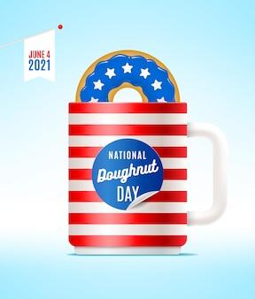 Usa national donut day illustration donut und tasse in den farben der usa flagge