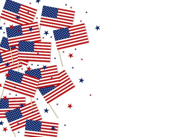 Usa oder amerika flagge und sterne isoliert auf weißem hintergrund