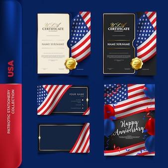 Usa patriotische briefpapiersammlung