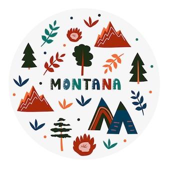 Usa-sammlung. vektorillustration von montana. staatssymbole - runde form