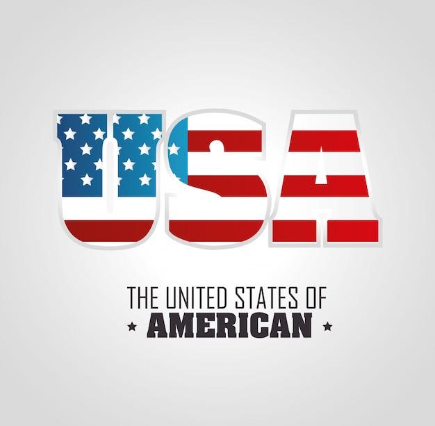 Usa-schriftzug mit flagge. die vereinigten staaten von amerika