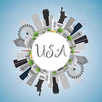 Usa-skyline mit grauen wolkenkratzern, sehenswürdigkeiten und textfreiraum. vektor-illustration. geschäftsreise- und tourismuskonzept mit moderner architektur. bild für präsentationsbanner-plakat und website.