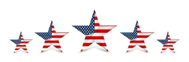 Usa-star in den nationalfarben amerikas. tag der unabhängigkeit.