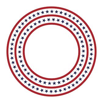 Usa-sternvektormuster runder rahmen amerikanische patriotische kreisgrenze mit sternen und streifenmuster