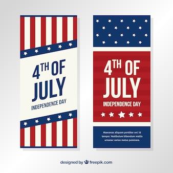 Usa-unabhängigkeitsfahnen mit flachem design