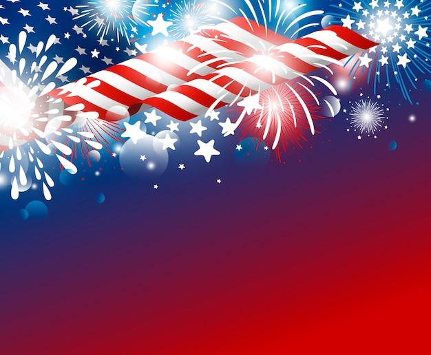 Usa-unabhängigkeitstag 4. von juli-design der amerikanischen flagge mit feuerwerken