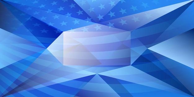 Usa-unabhängigkeitstag abstrakter hintergrund mit elementen der amerikanischen flagge in blauen farben Premium Vektoren