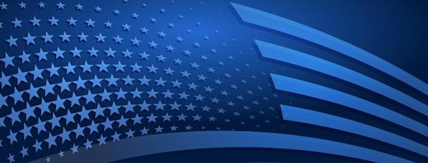 Usa-unabhängigkeitstag abstrakter hintergrund mit elementen der amerikanischen flagge in blauen farben