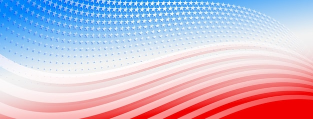 Usa-unabhängigkeitstag abstrakter hintergrund mit elementen der amerikanischen flagge in roten und blauen farben