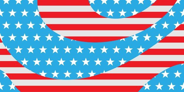 Usa-unabhängigkeitstag abstrakter hintergrund mit elementen der amerikanischen flagge in roten und blauen farben Premium Vektoren
