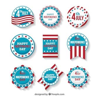 Usa unabhängigkeitstag abzeichen sammlung