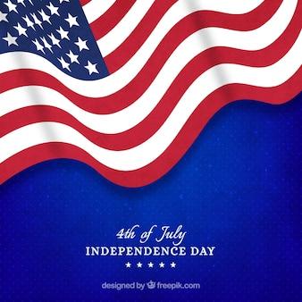Usa-unabhängigkeitstag mit realistischer flagge