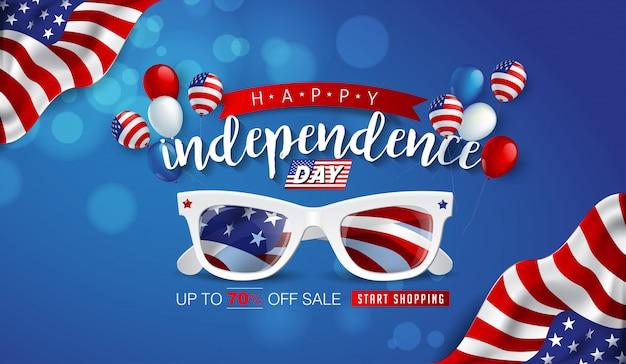 Usa unabhängigkeitstag verkauf werbung werbebanner vorlage.