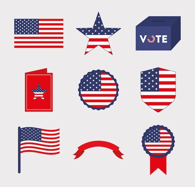 Usa und abstimmung symbol set design, präsident wahl regierung und wahlkampfthema