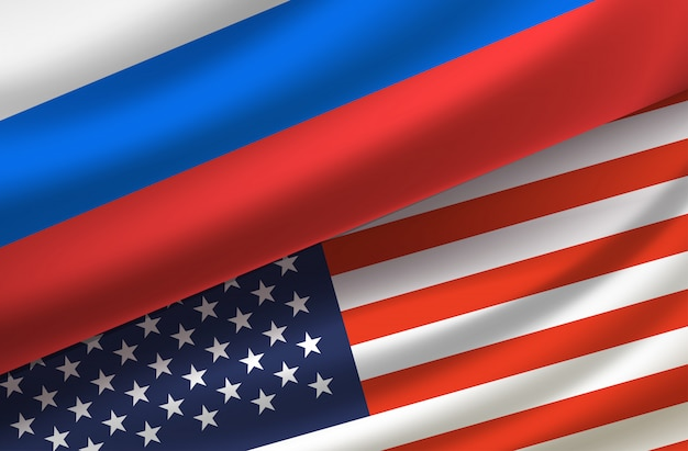 Usa und russland. vektorhintergrund mit flaggen