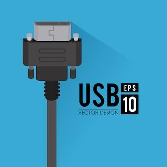 Usb-design über blauer hintergrundvektorillustration