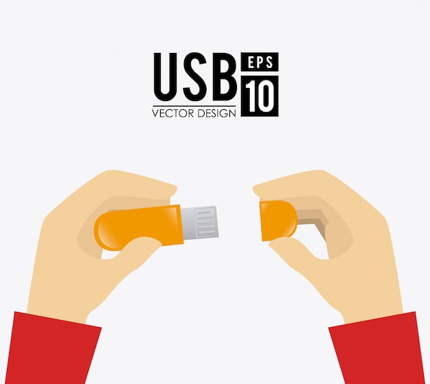 Usb-design über weißem hintergrund