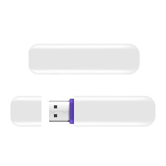 Usb memory sticks flash-laufwerk realistisch isoliert auf dem weißen hintergrund.