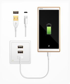 Usb-port-stecker in realistischer zusammensetzung mit isolierten kabelanschlüssen, anschlüssen, steckdose und smartphone