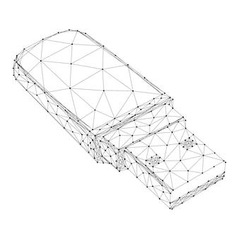 Usb-stick aus abstrakten futuristischen polygonalen schwarzen linien und punkten