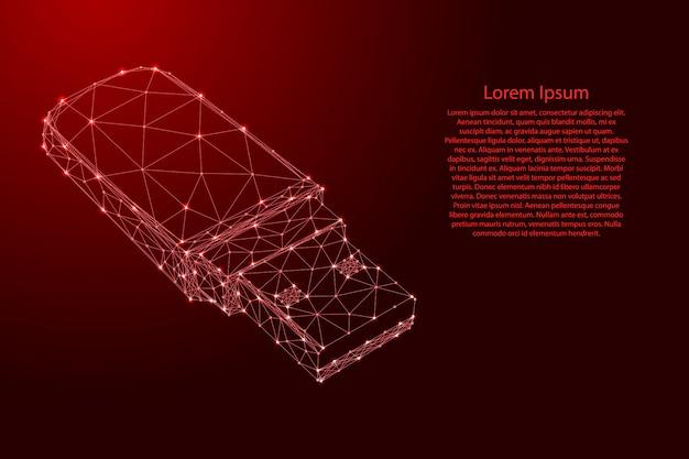 Usb-stick aus futuristischen polygonalen roten linien und leuchtenden sternen für banner