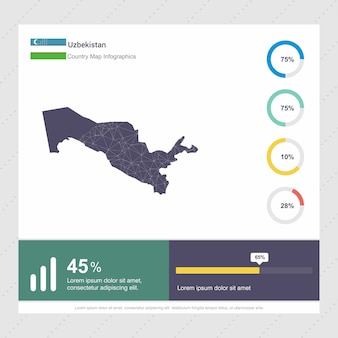 Usbekistan-karte u. flagge infographics-schablone