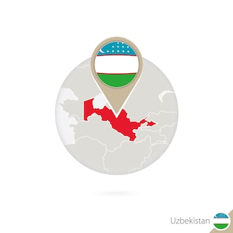 Usbekistan-karte und flagge im kreis. karte von usbekistan, usbekistan-flaggenstift. karte von usbekistan im stil der welt. vektor-illustration.