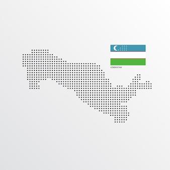 Usbekistan-kartenentwurf mit flaggen- und hellem hintergrundvektor