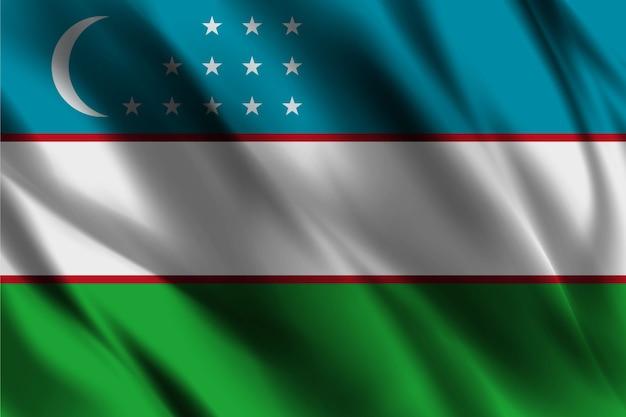 Usbekistan nationalflagge, die seidenhintergrund schwenkt
