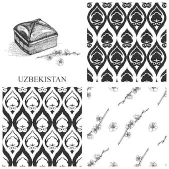 Usbekistan set muster skizze