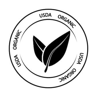 Usda bio. grünes zeichen für organisches, ökologisches produkt oder lebensmittel. vektorsymbol für produkt ohne gvo