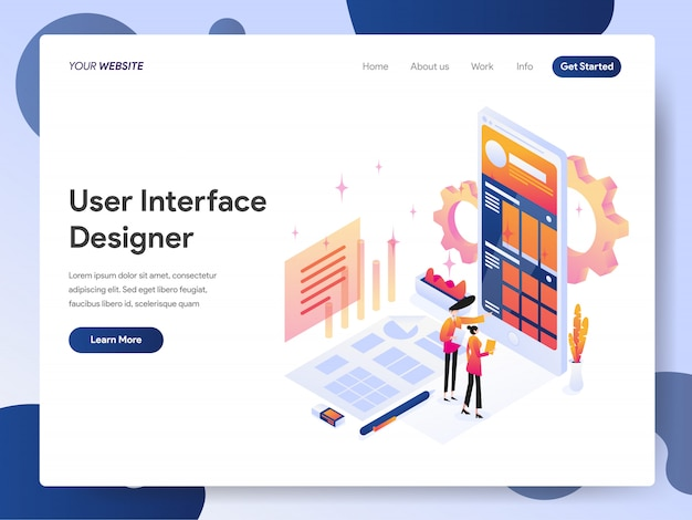 User interface designer banner der landing page