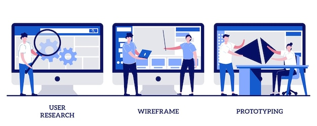 User research, wireframe, prototyping-konzept mit kleinen leuten. ux design set. online-umfrage, berichte und analysen, webseitenlayout, website-navigation.
