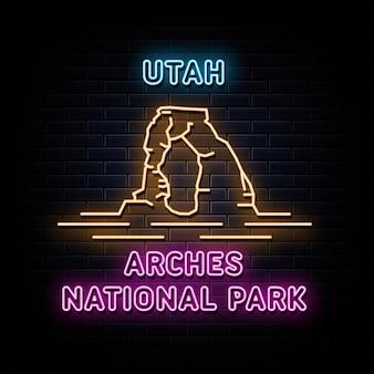 Utah arches national park leuchtreklamen vektor