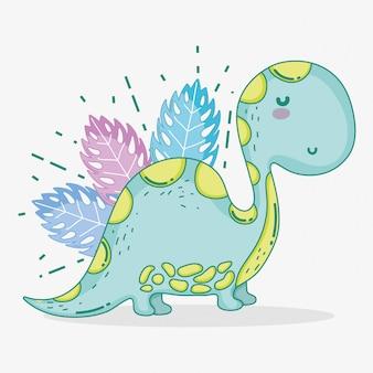 Ute diplodocus dino-wildtiere mit blättern