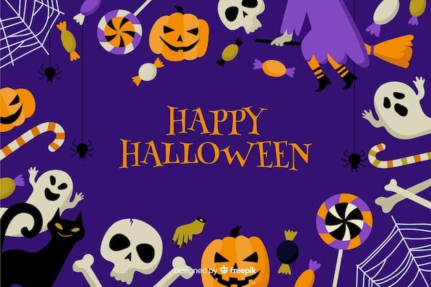 Ute halloween-hintergrund mit flachem design