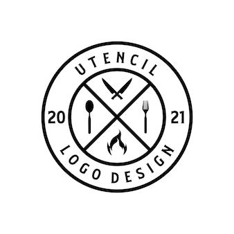 Utensil-logo-design im vintage-retro-stil