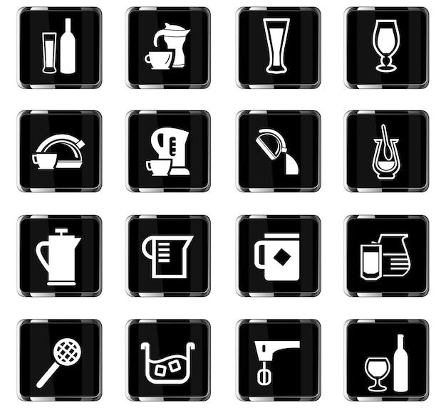 Utensilien für getränkevektorsymbole für das design der benutzeroberfläche