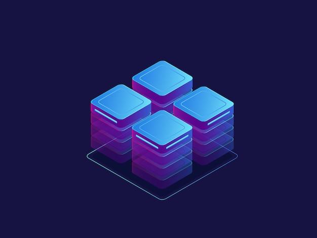 Uv-banner, serverraum, abstrakte technologieobjekte, cloud-speicher